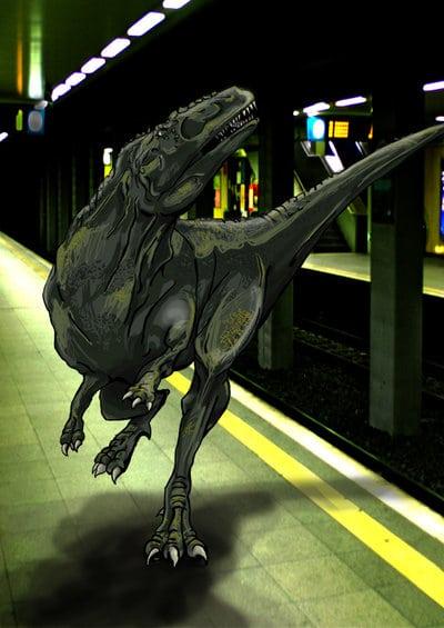 Cool Dinosaur Art: Dinosaur and the Underground by Hirschpiel