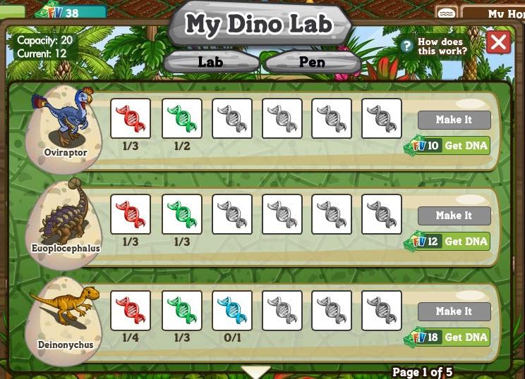 Farmville Dinosaurs and the Dinolab