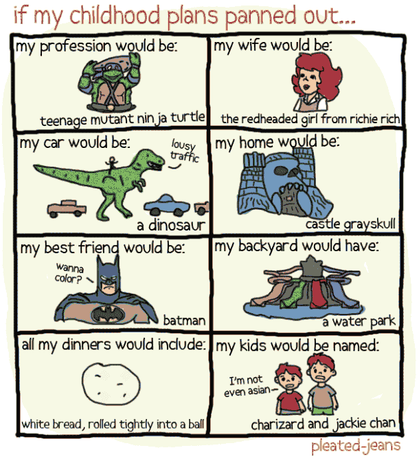 Dinosaur Comics: Childhood Plans