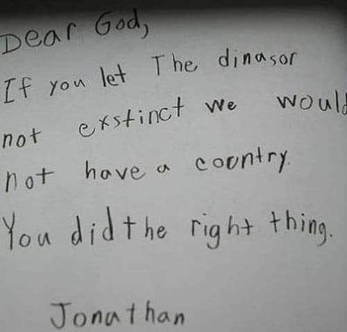 Dinosaur letter to God
