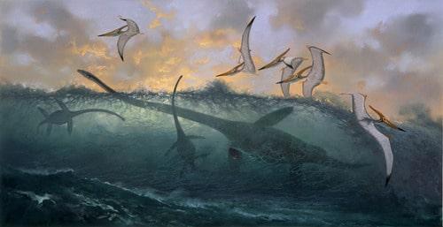 Elasmosaur, Pteranodon by Douglas Henderson