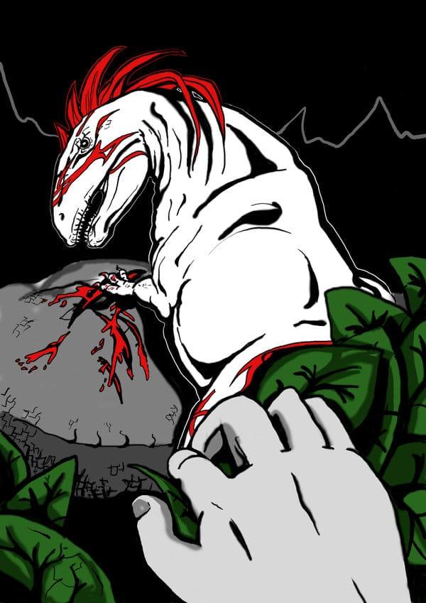 Dinosaur Art: Red Dino by Hirschpiel