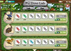 Farmville Dinosaurs and the Dinolab